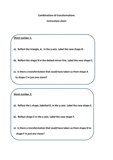 combinations of transformations worksheet combinations of transformations investigation by ben ncfc teaching resources tes