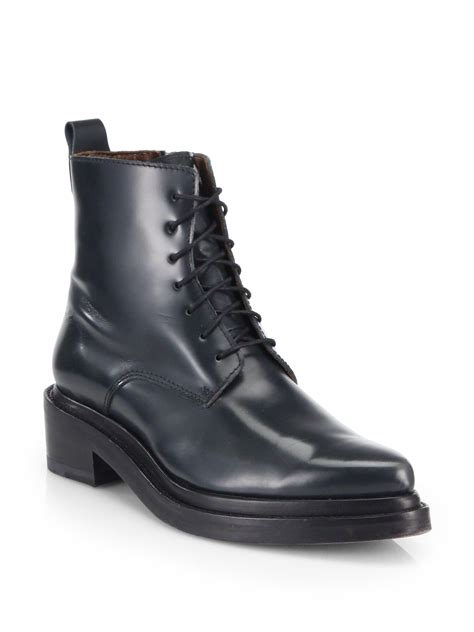 acne studios linden leather combat boots in black lyst