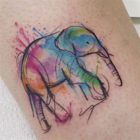 watercolor tattoo lines best 25 watercolor elephant tattoos ideas on