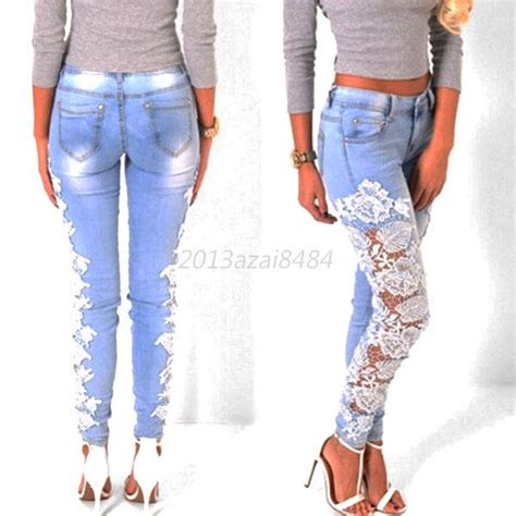 Hq 11462 Ripped Pencil Denim womens stretch denim lace crochet casual