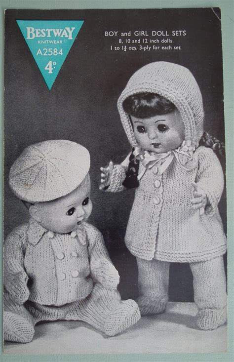 free 12 inch doll knitting patterns vintage 1940s 1950s knitting pattern boy and dolls