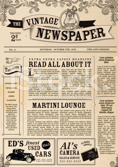 Vector Illustration Of A Front Page Of An Old Newspaper Use This 337 Branding Ideas Newspaper Newsletter Template