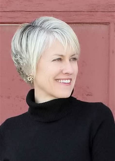 bangs and gray hair short hairstyles women over 50 side bangs and blonde color