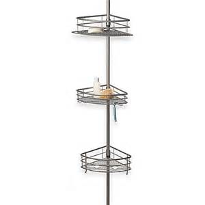 oversized 3 tier pole shower caddy in brushed nickel bed