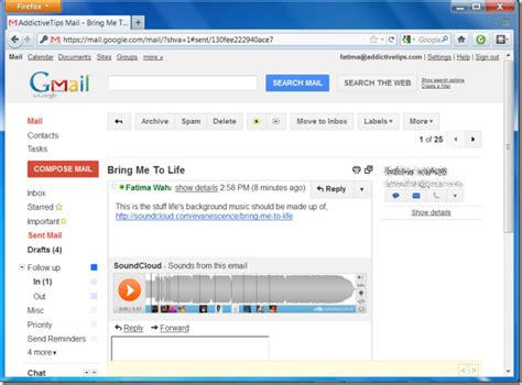 email from google soundcloud sounds in google mail lets you play audio