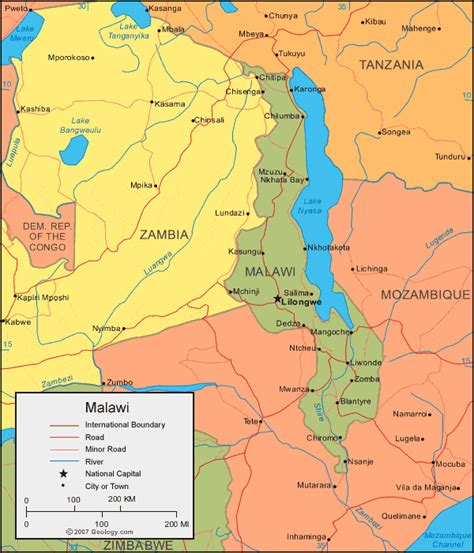 malawi map malawi map and satellite image