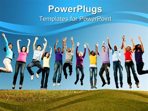 template powerpoint youth powerpoint template group of smiling young people jumped