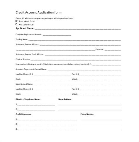 Simple Credit Account Application Form Template credit application template 32 exles in pdf word