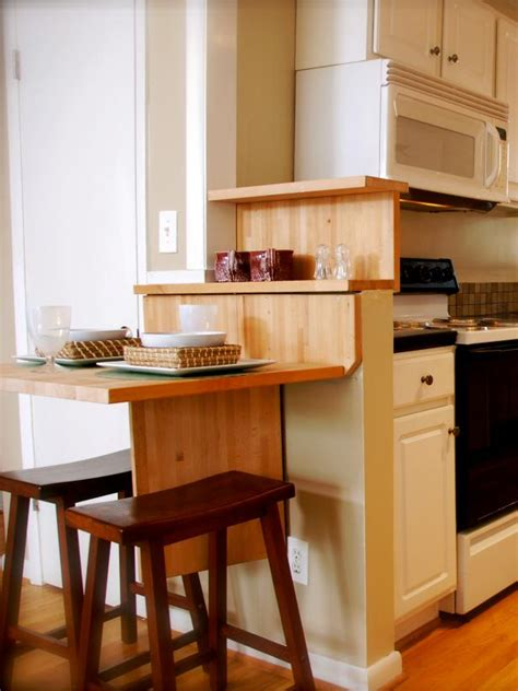 wood breakfast bar with shelving and stools photos