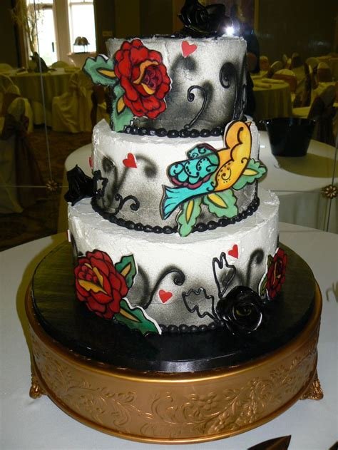 cake tattoo themed wedding cake cakeart weddings by margi