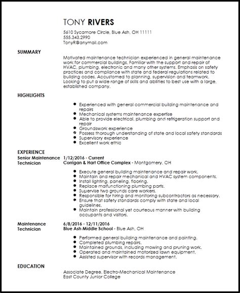 Free Traditional Maintenance Technician Resume Template Resumenow Maintenance Mechanic Resume Template