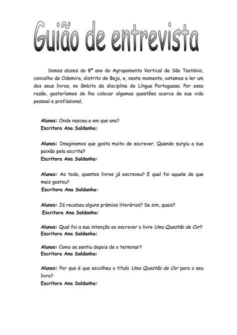 Calaméo - Guião de entrevista a Ana Saldanha - Pedro, Luís