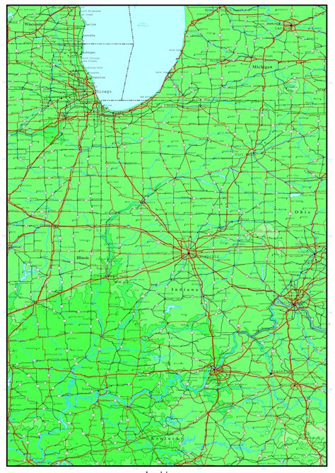political map of indiana indiana elevation map