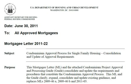 Fha Appraisal Mortgagee Letter Appraisal Scoop Hud Fha Quot Site Condo Quot Definition And Reporting Requirements Ml 2011 22