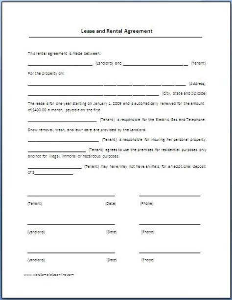simple lease agreement template renters lease agreement real estate forms forms