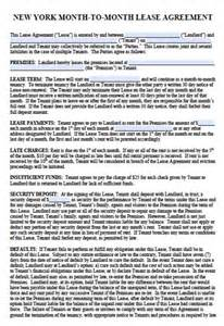 New York Lease Agreement Template free new york month to month lease agreement pdf word