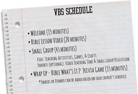 What S In The Bible Vbs Whats In The Bible Vbs Schedule Template