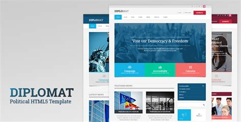 Diplomat Political Responsive Site Template By Thememakers Themeforest Political Caign Website Templates Free