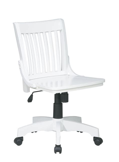 white mission style wood chair armless banker swivel desk