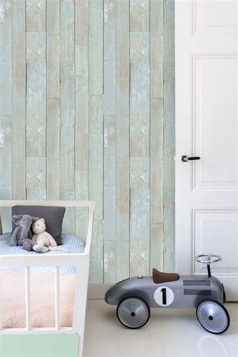 slaapkamer met hout behang kinderkamer behang thestylebox