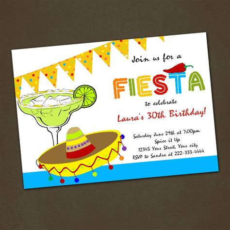 Mexican Fiesta Birthday Party Invitations You Print Birthday Party Invitations Popular And Mexican Invitation Template