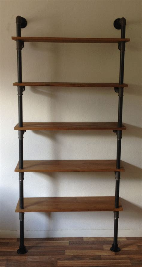 gas pipe industrial shelving unit by breuhaus on etsy