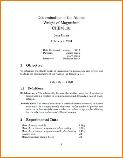 Lab Report Template Word