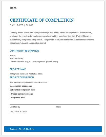 construction work completion certificates for ms word