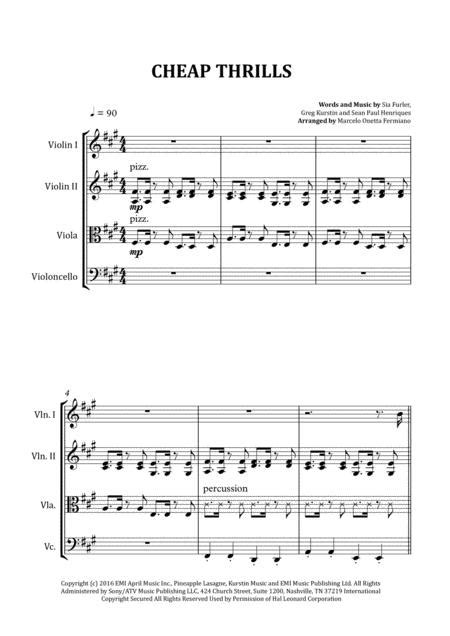 Cheap Thrills Sia Sheet Music For String Quartet Score And