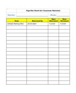 sign in and sign out sheet template sle classroom sign out sheet 8 free documents