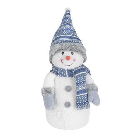 Snowman Decoration White 33cm led light up crimbo snowman decoration blue white