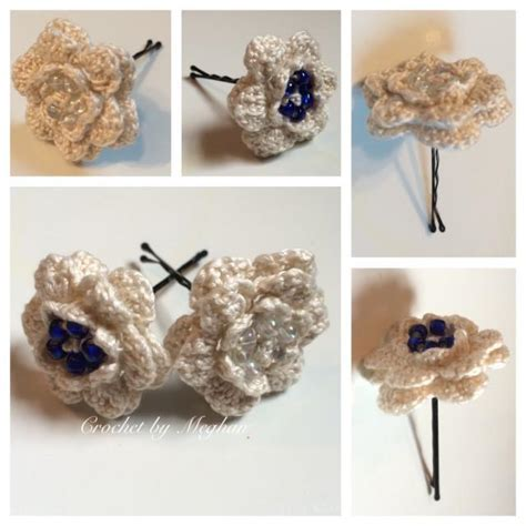 Handmade Barrettes - wedding hair accessories bobby pins vintage crochet