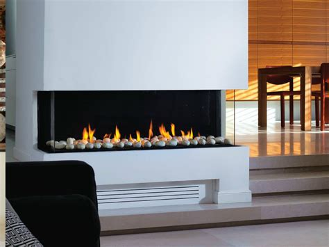 gas fireplace with panoramic glass panorama 110 by