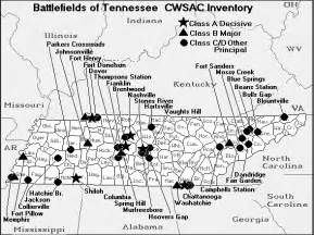 tennessee map of battles of the american civil war