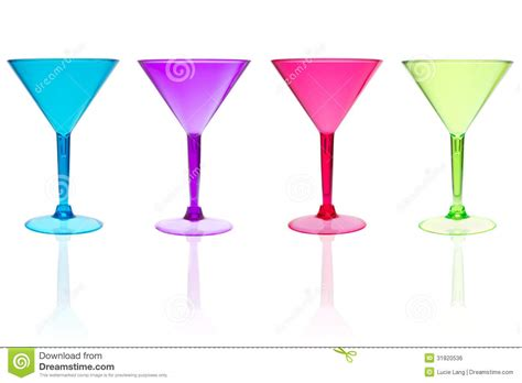 martini chagne 4 different color martini glasses on white royalty free