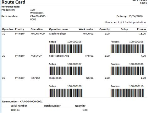 manufacturing route card template printing a route card to screen microsoft dynamics ax