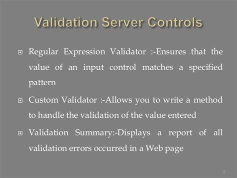 validation pattern in asp net validation controls in asp