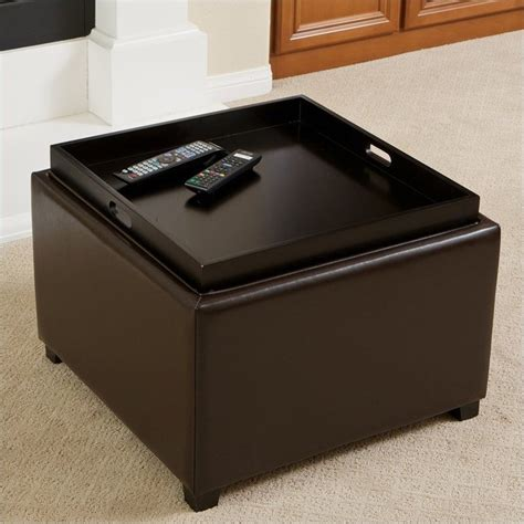 tray on top of ottoman trent home bowery leather tray top ottoman 076632cy