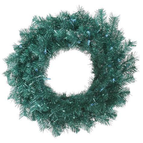 vickerman 329559 24 quot aqua tinsel christmas wreath