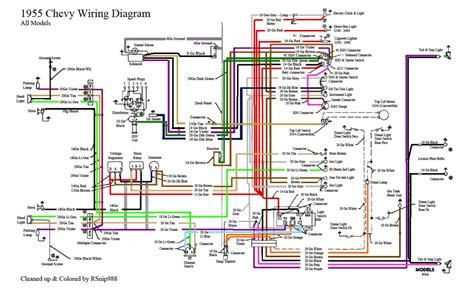 55 chevy color wiring diagram 1955 chevrolet pinterest