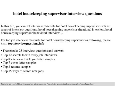 hotel housekeeping supervisor questions