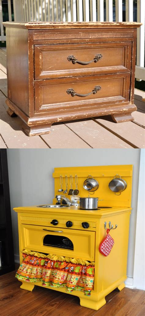play kitchen from old furniture diy play kitchen for kid from old nightstand furniture