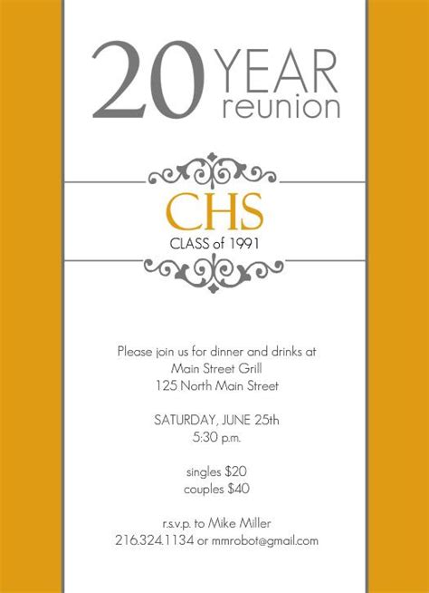 Reunion Invitation Card Templates by Classic Colors 20 Year Class Reunion Invitation By