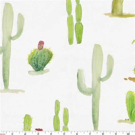 Green Crib Bedding Watercolor Cactus Fabric By The Yard Red Fabric
