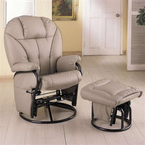 Glider Chair And Ottoman Bone Leatherette Modern Swivel Glider Chair W Ottoman