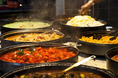 street food indian kitchen spicy buffet stock photo