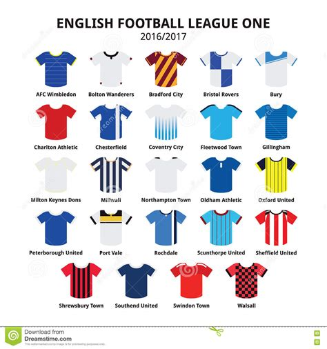 english football league and english football league one jerseys 2016 2017 icons set stock illustration image 78979911