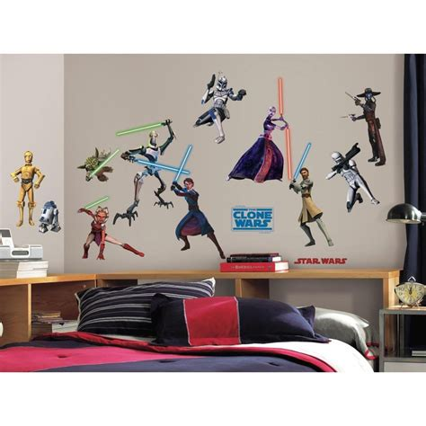 star wars bedroom decals roommates star wars clone wars 28 wall decals lightsabers