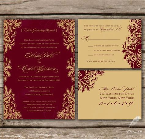 Indian Wedding Invitations Rsvp Printed Or Digital Engagement Kankotri Red Maroon Gold Maroon Wedding Invitation Templates