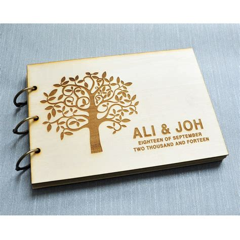 Personalised Wedding Guest Book Handmade - custom wedding guest book engagement anniversary gift